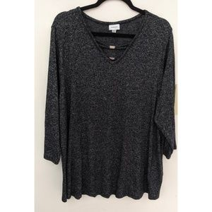 Avenue Charcoal Gray Long Sleeve Top Plus Size